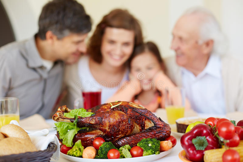 Fried turkey and vegetables. Homemade roasted turkey on served Thanksgiving table stock image