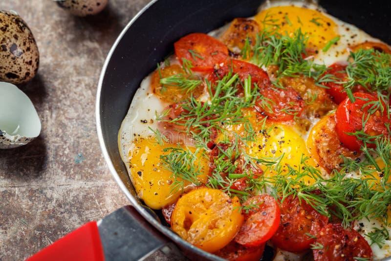Fried undertrycker ägg med tomato's och dill på stekpannan, slut upp royaltyfri fotografi