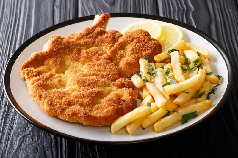 Fried veal cutlet Milanese with lemon and French fries close-up. On a plate on a table. Horizontal royalty free stock photography