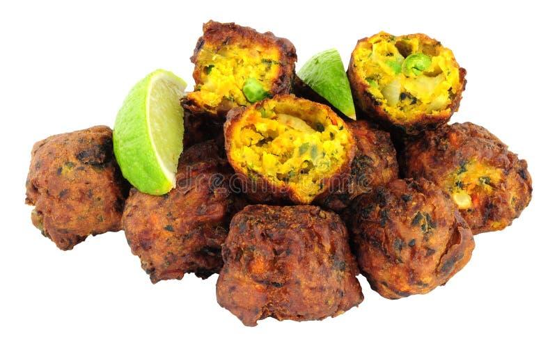 Fried Vegetable Pakora Isolated On A White Background stock photos