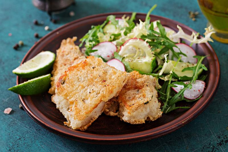 Fried white fish fillet and cucumber and radish salad stock photo