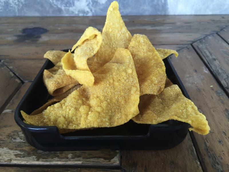 Fried Wonton ou bolinhas de massa imagem de stock