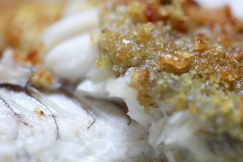 Fried yellow croaker fish closeup stock image
