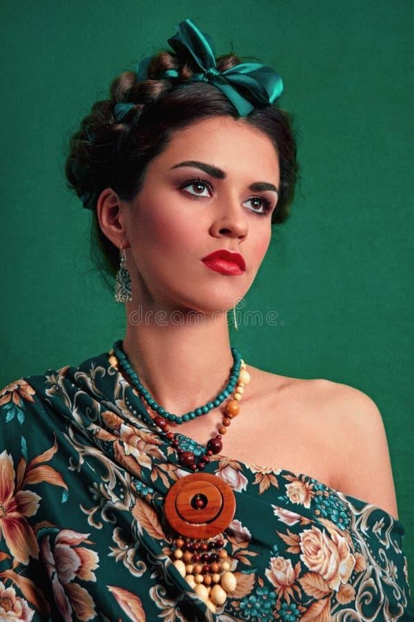frieda Meisjesethno met gevlecht haar royalty-vrije stock afbeeldingen