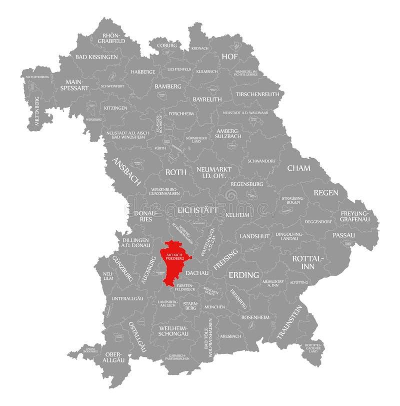 Friedberg okręgu administracyjnego czerwień podkreślająca w mapie Bavaria Niemcy royalty ilustracja