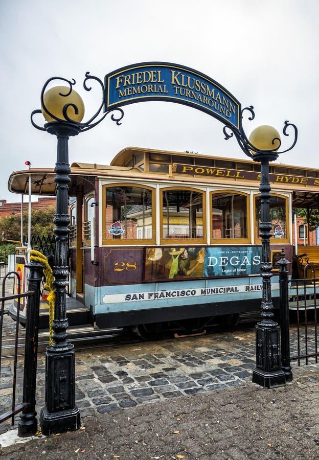 Friedel Klussmann Memorial Turnarounds, historische Drahtseilbahn, Powell-Hyde-Linie auf dem am 17. August 2017 - San Francisco,  stockbilder