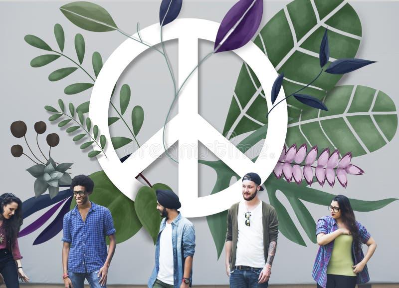 Friedensglückliche Hippie-Liebes-Retro- Konzept vektor abbildung