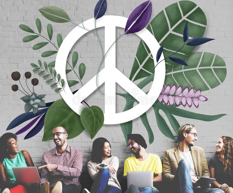 Friedensglückliche Hippie-Liebes-Retro- Konzept stock abbildung