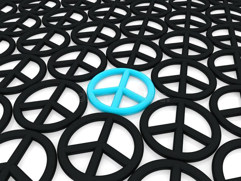 Friedenssymbol im Blau auf Weiß zwischen schwarzen Friedenssymbolen vektor abbildung