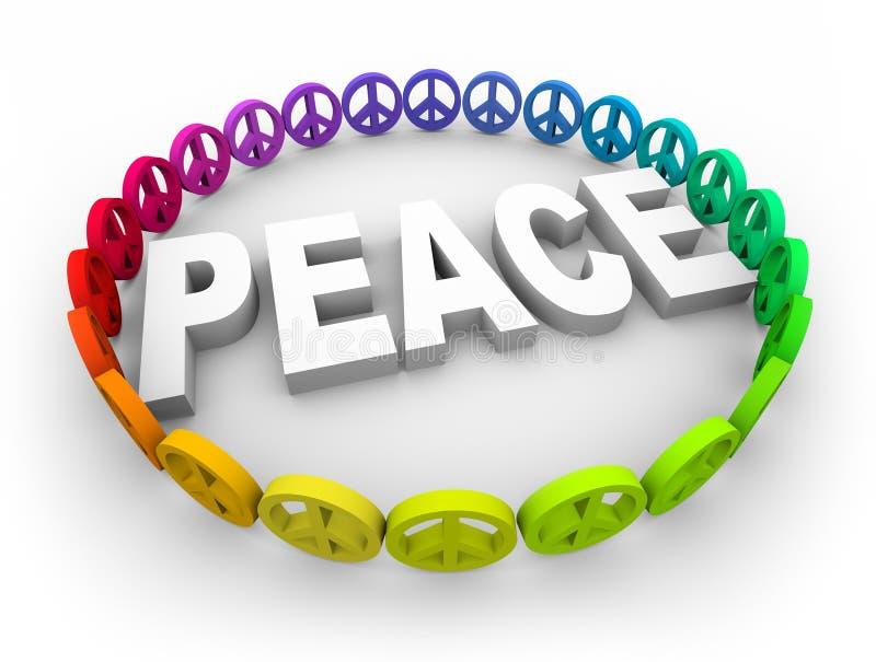Friedenssymbole um das Wort lizenzfreie abbildung