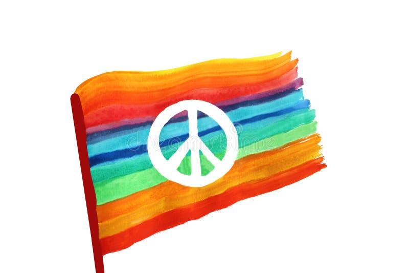 Friedenszeichen auf einer Regenbogen farbigen Flagge stock abbildung