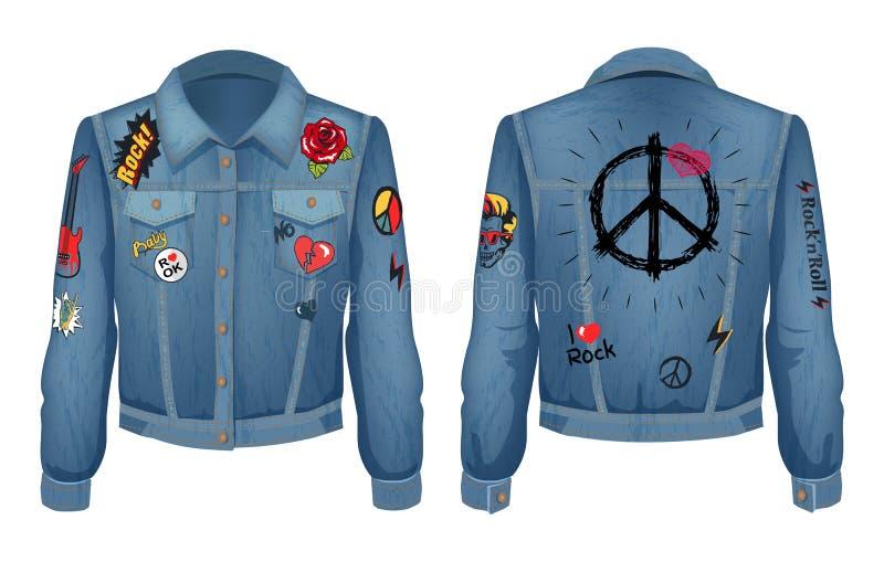 Friedenszeichen auf Rückseite der Jacken-Vektor-Illustration lizenzfreie abbildung