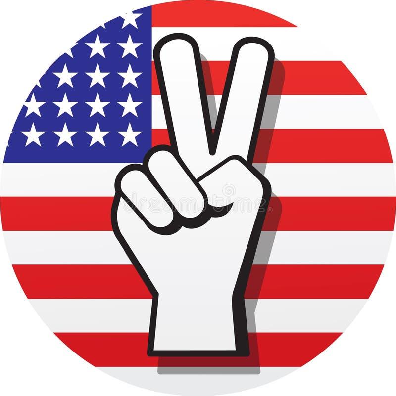Friedenszeichen auf Rot, Weiß und Blau stock abbildung