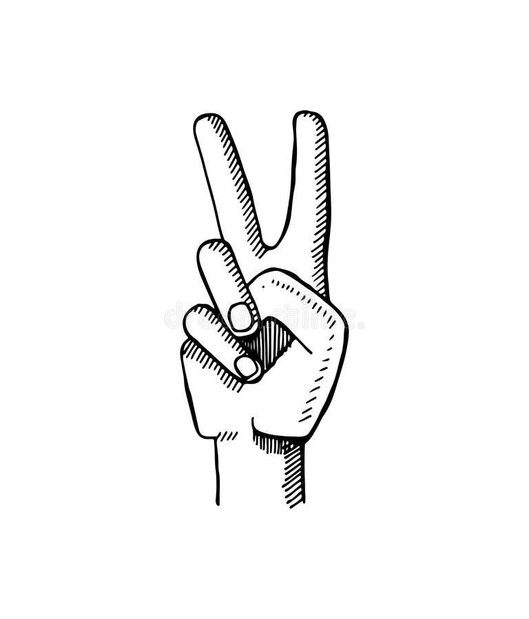 Friedenszeichen gemacht durch zwei Finger-Vektor-Illustration stock abbildung