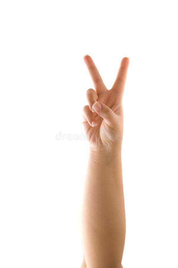 Friedenszeichen-Hand lizenzfreies stockfoto
