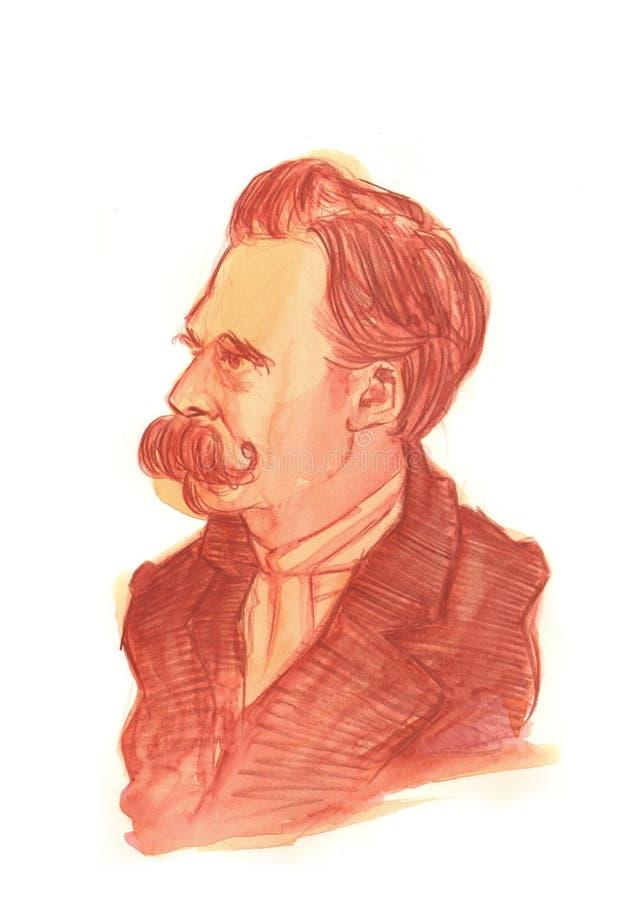 Friedrich Nietzsche Watercolour portret ilustracja wektor