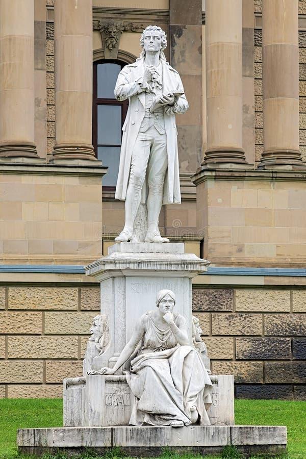 Friedrich Schiller-monument in Wiesbaden, Duitsland royalty-vrije stock foto's