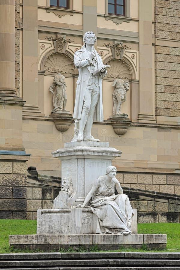 Friedrich Schiller monument in Wiesbaden, Germany. Friedrich Schiller monument in front of the Hessian State Theatre in Wiesbaden, Germany stock photos