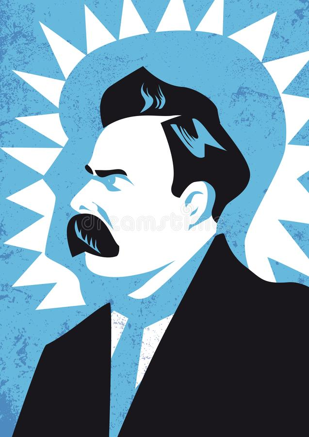 Friedrich Wilhelm Nietzsche vector illustration portrait royalty free illustration
