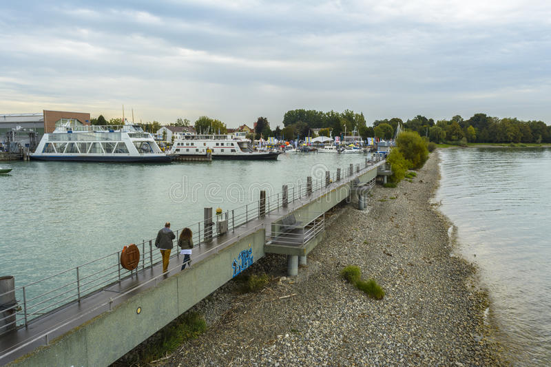 Friedrichshafen harbor on BodenSee lake, Baden-Wurttemberg, Germany stock image