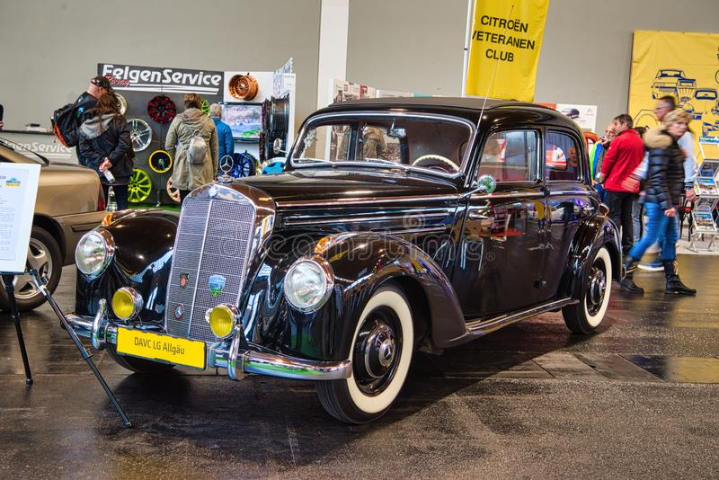 FRIEDRICHSHAFEN - MAY 2019: black MERCEDES-BENZ 220 W187 1953 coupe at Motorworld Classics Bodensee on May 11, 2019 in. Friedrichshafen, Germany stock photos