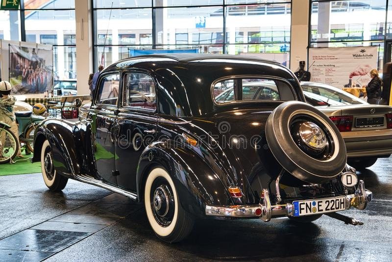 FRIEDRICHSHAFEN - MAY 2019: black MERCEDES-BENZ 220 W187 1953 coupe at Motorworld Classics Bodensee on May 11, 2019 in. Friedrichshafen, Germany royalty free stock images
