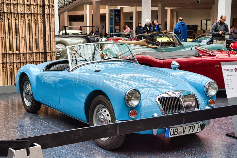 FRIEDRICHSHAFEN - MAY 2019: blue MG MGA 1962 cabrio roadster at Motorworld Classics Bodensee on May 11, 2019 in Friedrichshafen, stock image