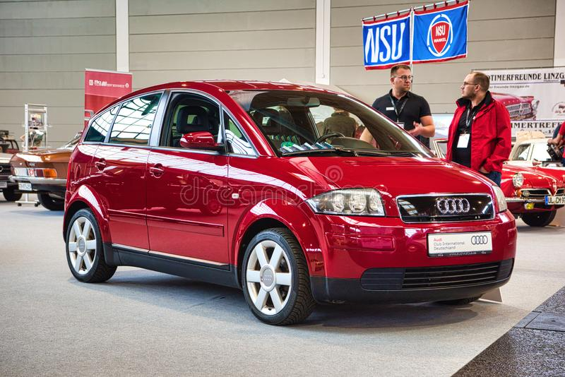 FRIEDRICHSHAFEN - MAY 2019: red AUDI A2 TYPE 8Z 1999 at Motorworld Classics Bodensee on May 11, 2019 in Friedrichshafen, Germany.  stock photography
