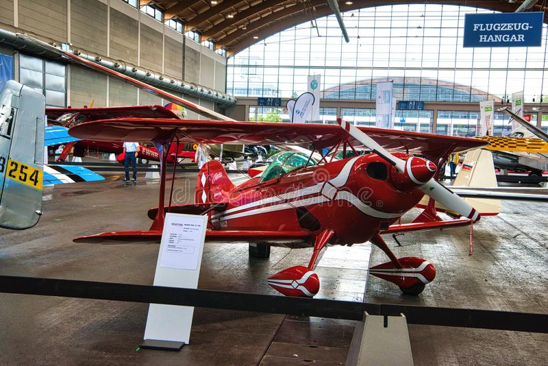 FRIEDRICHSHAFEN - MAY 2019: red biplane PITTS S1 11B 2005 at Motorworld Classics Bodensee on May 11, 2019 in Friedrichshafen, stock images