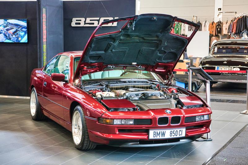 FRIEDRICHSHAFEN - MAY 2019: red BMW 8 850 CI E31 1990 at Motorworld Classics Bodensee on May 11, 2019 in Friedrichshafen, Germany.  stock photos