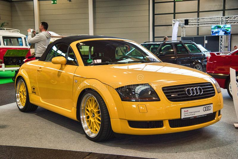 FRIEDRICHSHAFEN - MAY 2019: yellow AUDI TT QUATTRO ROADSTER TYPE 8N 1998 sedan at Motorworld Classics Bodensee on May 11, 2019 in royalty free stock images