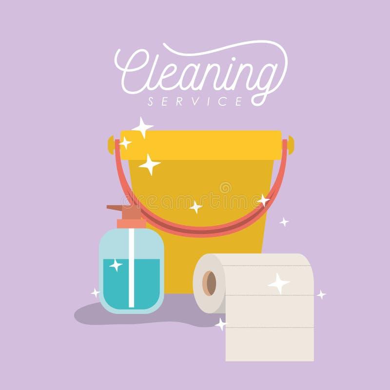 Friegue el cepillo y saque el polvo del servicio de la limpieza del bolso del cubo y de basura de la cacerola en fondo del color libre illustration