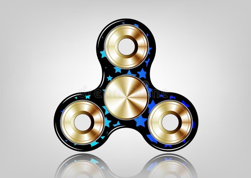Friemel spinnerpictogram - stuk speelgoed voor spanningshulp en verbetering van concentratieperiode Gevuld gouden metaal, blauwe  vector illustratie