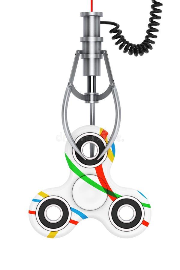Friemel Vingerspinner Antistressstuk speelgoed in een Robotachtige Klauw van Chrome 3 royalty-vrije illustratie