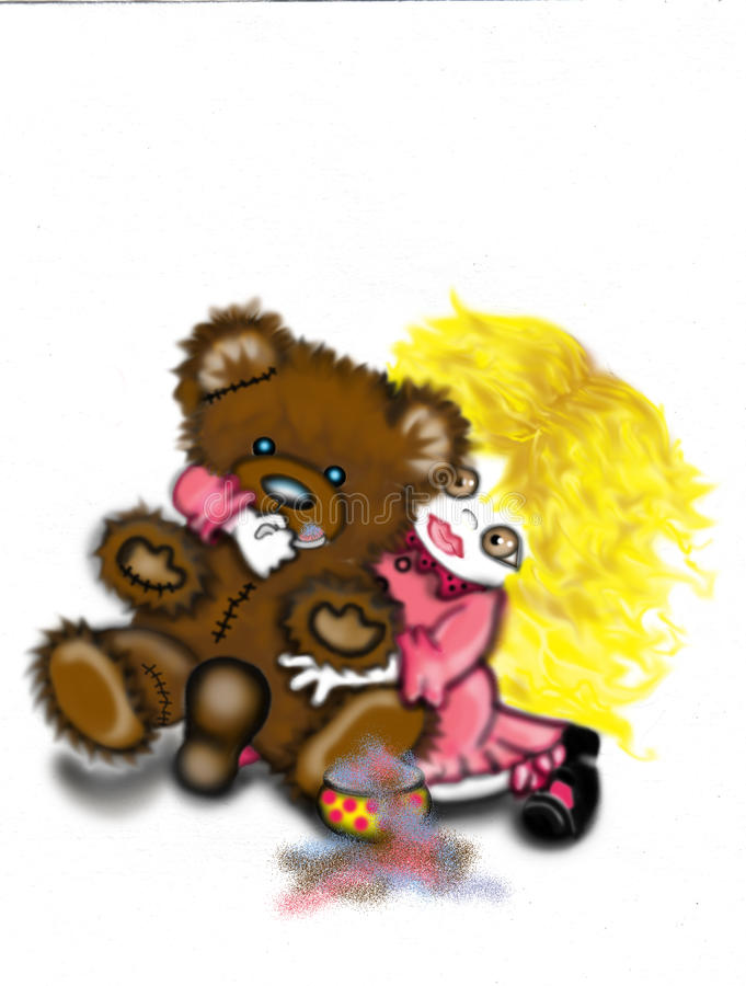 Download The Friend stock illustration. Image of girl, bear, love - 12044432