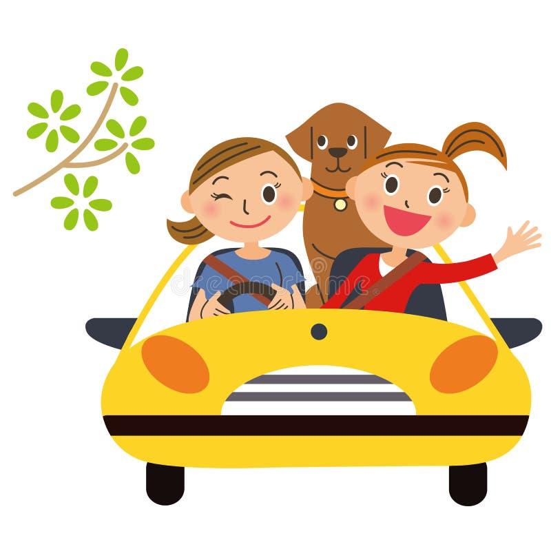 Friend and drive. Good friend friend and pleasant drive stock illustration
