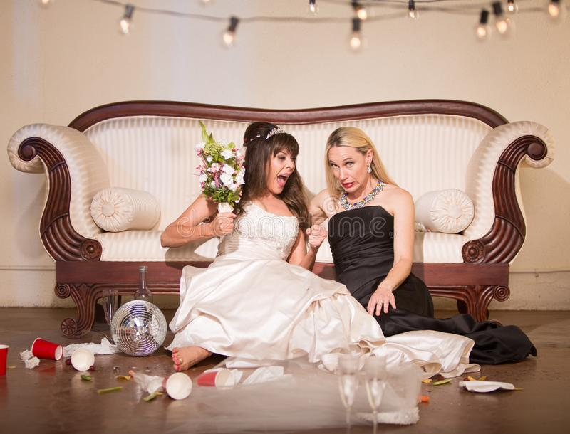 Friend Embarrassed by Unhappy Bride stock image