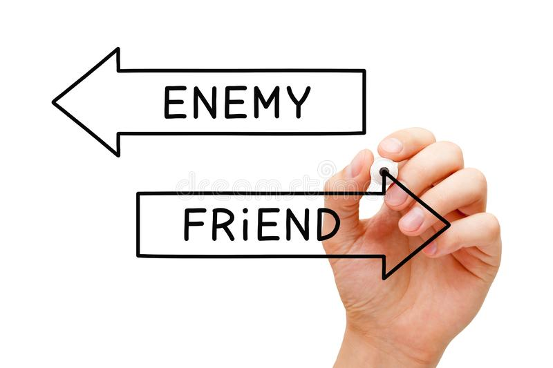 Friend Or Enemy Arrows Concept. Hand drawing Enemy or Friend arrows concept with marker on transparent wipe board stock photo