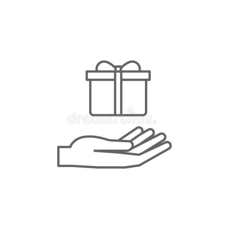 Friend, gift, hand icon. Element of friendship icon. Thin line icon for website design and development, app development. Premium vector illustration