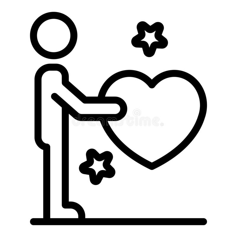 Friend give heart icon, outline style stock illustration