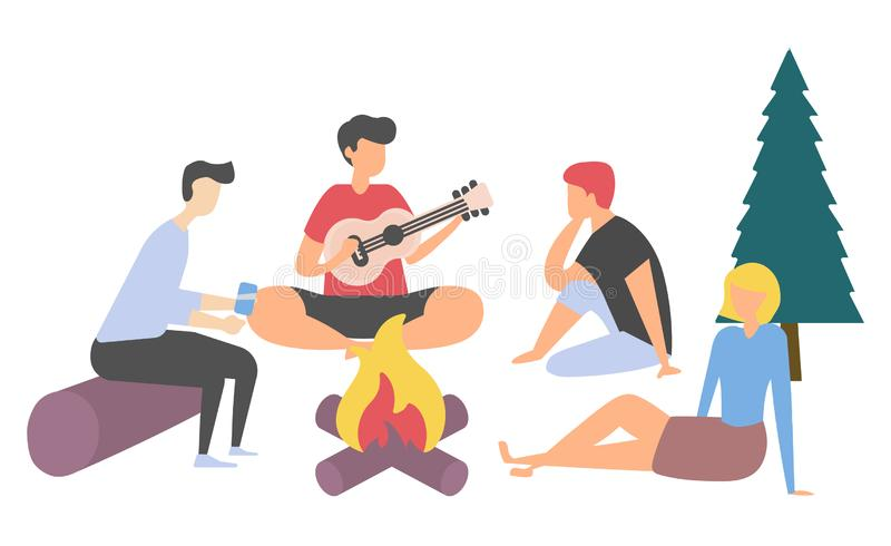 Friend with Guitar, People Leisure, Picnic Vector. Group of people singing song and playing guitar, friends characters sitting near bonfire, people listening vector illustration