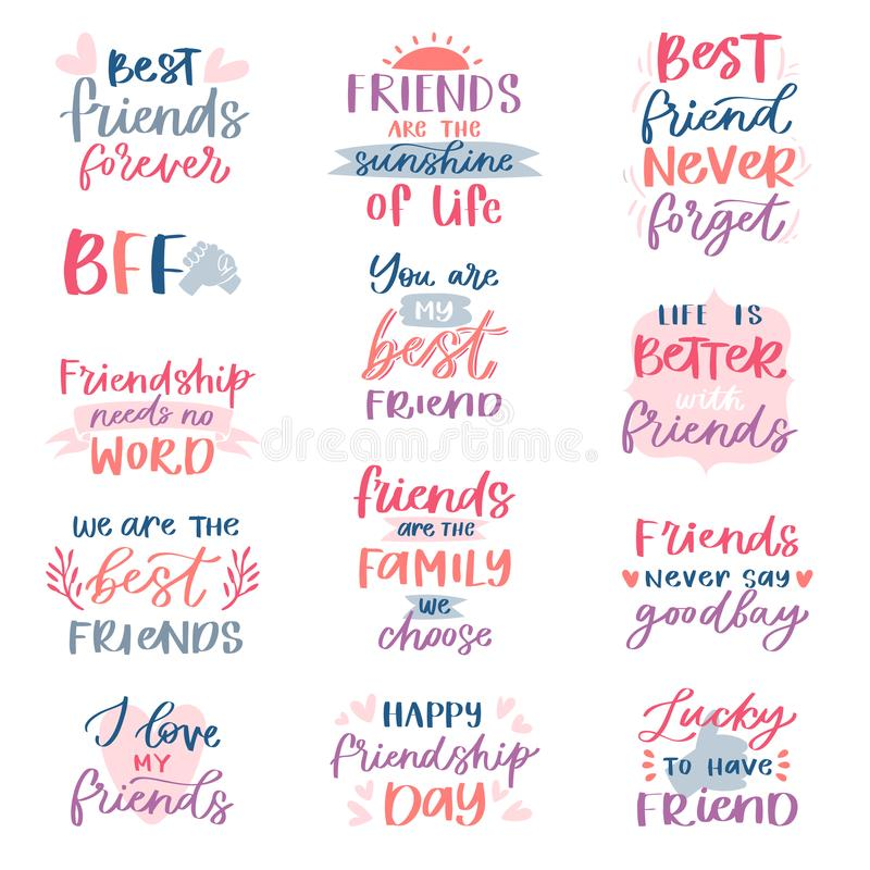 Friend lettering vector friendship card typography and friendly calligraphy logotype design with text sign illustration stock illustration