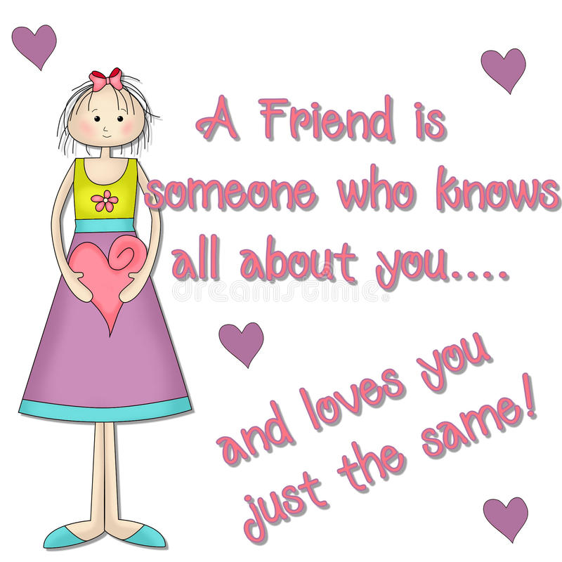 A Friend Little Girl Graphic. A Friend is someone who knows all about you...and loves you just the same! This is lovely for your scrapbooking or greeting card stock illustration