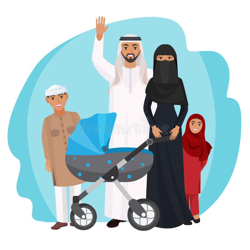 Friendly Arabic cartoon family stands together isolated illustration. Friendly Arabic family stands together. Husband in white robe waves hand, woman in black stock illustration
