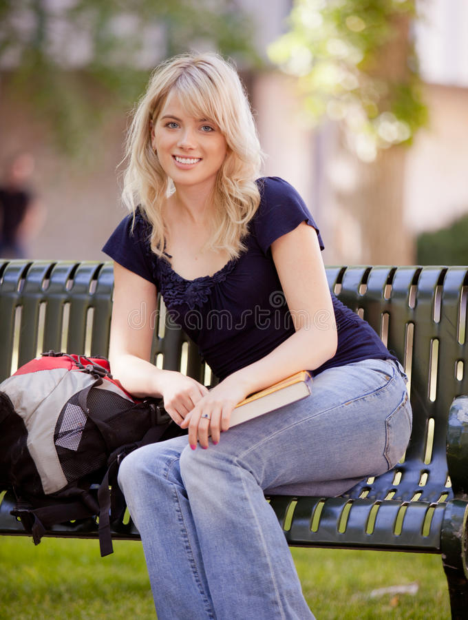 Friendly Attractive College Girl stock images