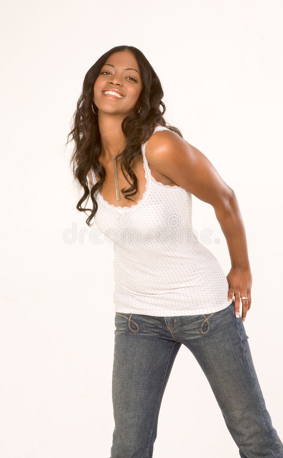 Download Friendly Black Girl In Jeans And Tank-top Stock Image - Image: 4330407