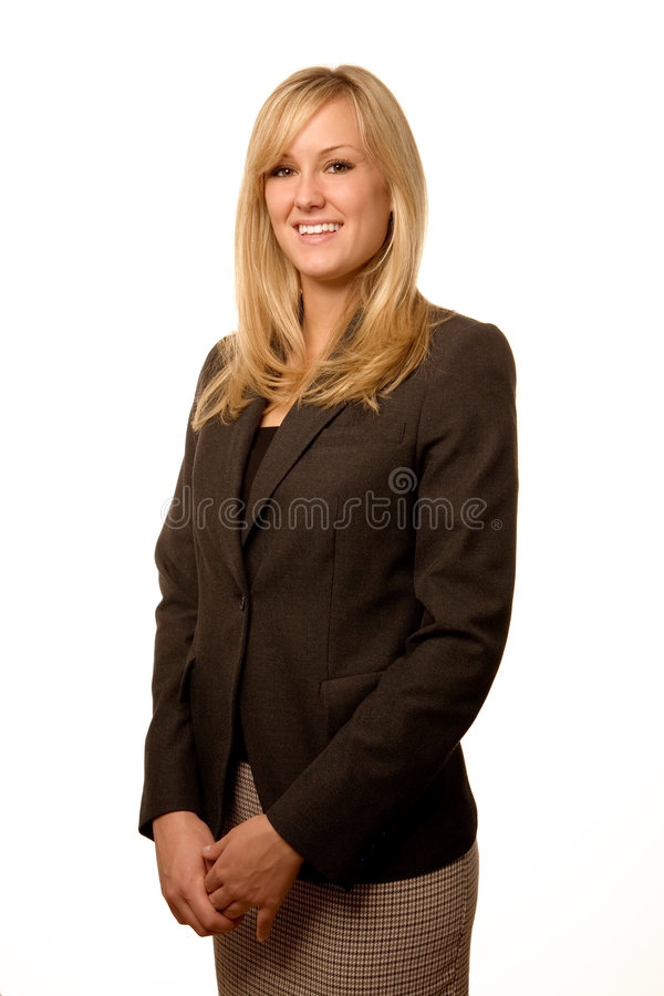 Friendly Blond Businesswoman. Approachable Blond Businesswoman Wearing a Dark Suit on Isolated White Background stock photos
