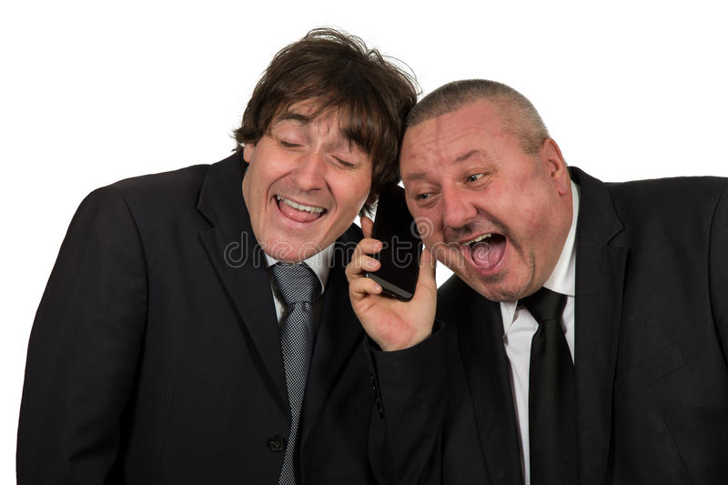 Friendly business using mobile phone in white office stock photo