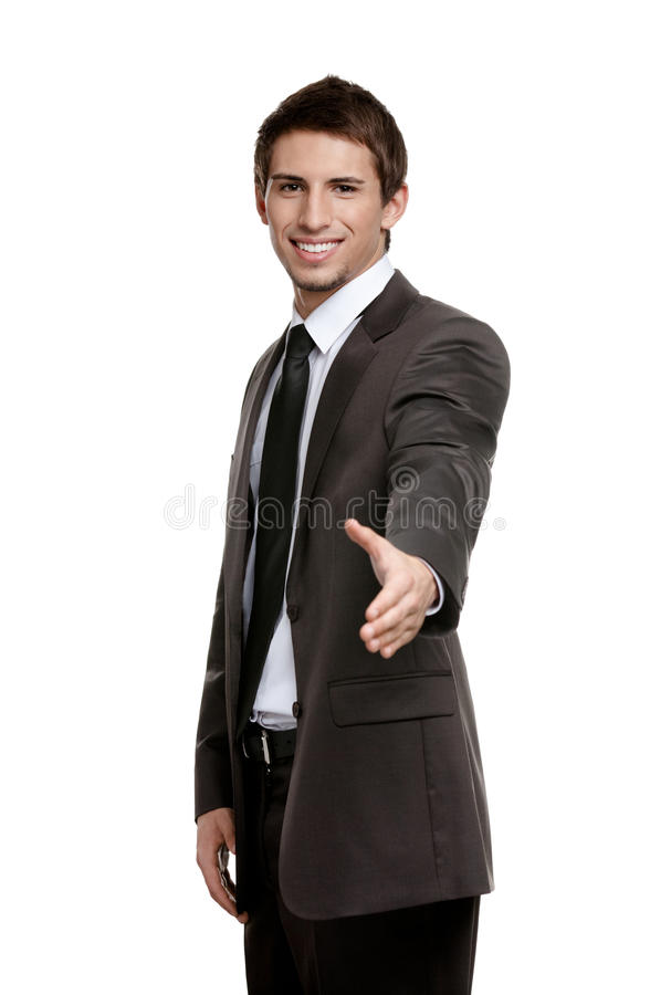 Friendly Businessman Giving Hand To Seal The Agreement Royalty Free Stock Photography