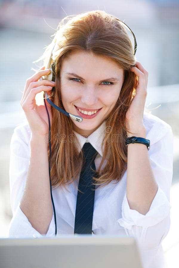 Friendly Call Center Operator Girl Stock Images